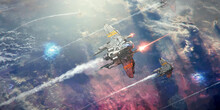 A Spaceship Flying Above A Pla...
