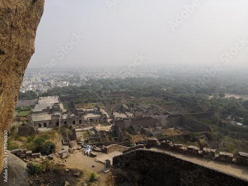 Photo Beautiful aerial view of Golconda Fort in Hyderabad, India