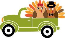 Turkey Truck. Green Truck With Turkey. Turkey Birds
