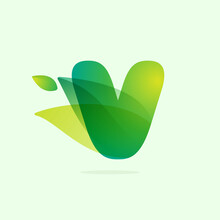 Ecology V Letter Logo With Green Leaves.