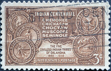 USA - Circa 1948 : A Postage Stamp Printed In The US Showing The Five Civilized Tribes In Oklahoma. Indian Centennial: Chickasaw, Choctaw, Cherokee, Seminole Indian Tribes