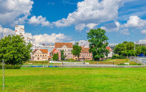 Fotografie, Tablou Traeckaje Suburb with old buildings in Trinity Hill district and grass lawn with