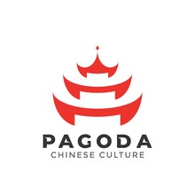 Pagoda Building Logo Design Element Vector Illustration. Chinese Japanese Culture
