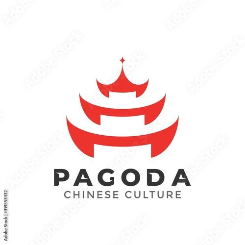 Canvas Print Pagoda Building logo design element vector illustration