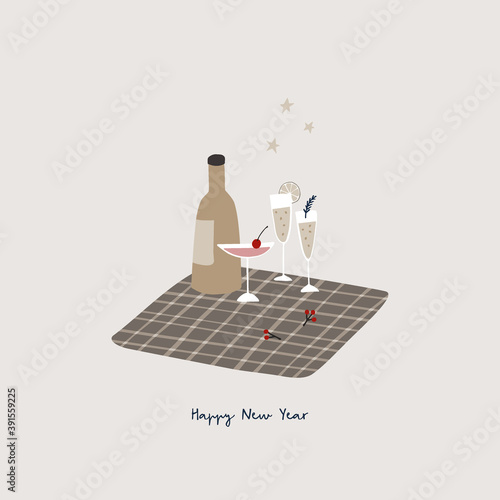 Happy New Year greeting card, invitation. Bottle of wine, champagne glasses and cocktail on checkered plaid. Berries, fir branch and golden stars. Winter birthday party and celebration concept.