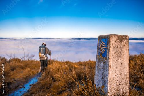 Billede på lærred Peregrino recorriendo el camino primitivo de santiago sobre un mar de nubes y co