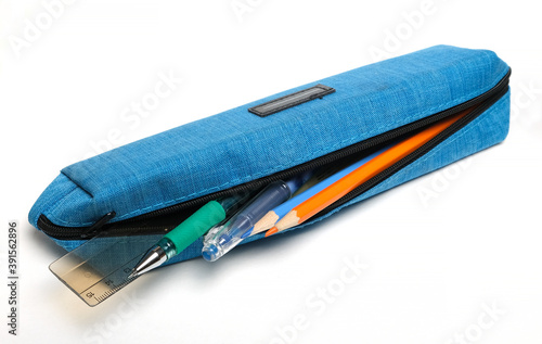 school pencil case with pens and pencils Wallpaper Mural