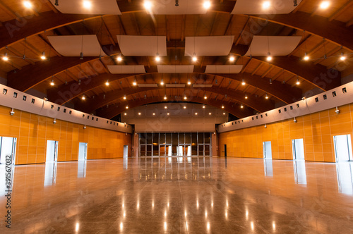 Great conference hall wood architecture classic style empty no people front view Fotobehang