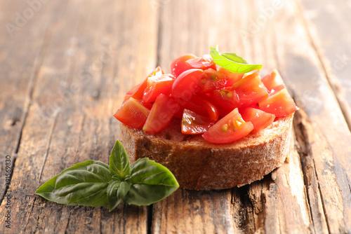 Obraz na plátně bruschetta with tomato and basil