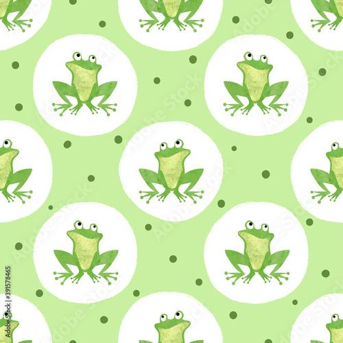 Fotografie, Obraz Cute watercolor frog pattern