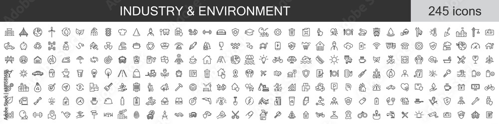 Fototapeta Big set of 245 Industry and Environment icons. Thin line icons collection. Vector illustration