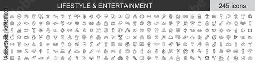 Fototapeta Big set of 245 Lifestyle and Entertainment icons