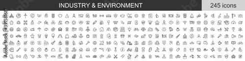 Obraz Big set of 245 Industry and Environment icons. Thin line icons collection. Vector illustration - fototapety do salonu