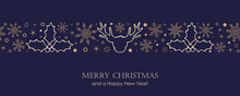 Blue Christmas Card With White Seamless Pattern Snowflakes And Deer Vector Illustration EPS10