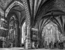 Grayscale Closeup Of The Interior Of A Church