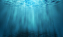 Underwater Blue Sea Or Ocean D...