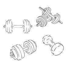 Vector Simple Dumbbells, Isolated On White Background, Dumbbells, Vector Sketch Illustration