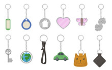 Keychains And Keyrings Set. He...