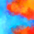 Painted composition with vibrant brush strokes. Textured colorful painting. Paint brushed wallpaper.