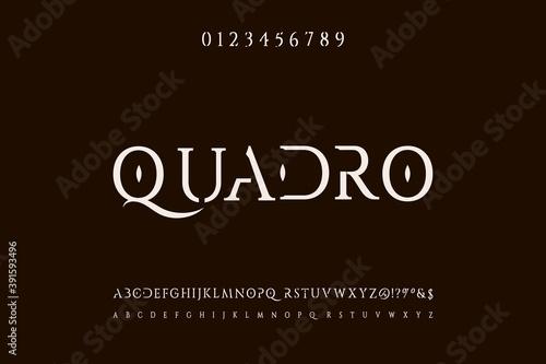 Fotografia typeface vector design, alphabet font, brawn and white style