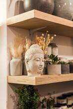 Sculpture Of A Buddha's Face M...