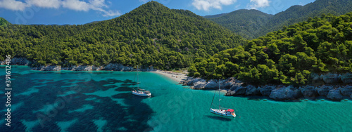 Aerial drone ultra wide panoramic photo of famous turquoise pebble beach of Kast Tapéta, Fotótapéta