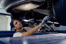 Auto Mechanic Examining Underc...