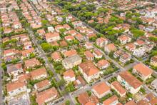 Aerial View Of Dense Town Near Viareggio, Italy.