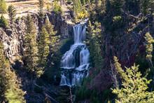 Undine Falls Waterfall In Yellowstone National Park, Daytime Long Exposure