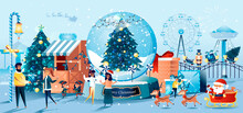 Christmas Carnival Flat Style Greeting Card. Festive Amusement Park, Carousel And Ferris Wheel, Fir Tree In Snow Globe. 2021 Happy New Year Vector Illustration. Horizontal Xmas Banner, Website Header.