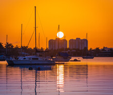 Sunset Over The Harbor Boat Su...