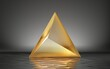 3d render, abstract golden pyramid isolated on black background with reflection in the water on the wet floor. Modern minimal geometric shape