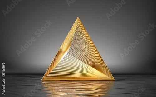 3d render, abstract golden pyramid isolated on black background with reflection in the water on the wet floor Fototapet