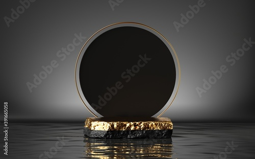 3d render, abstract modern minimal background with golden cobble platform, round black board and reflection in the water Canvas