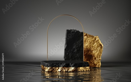 3d render, abstract black and gold background with cobblestones and golden arch frame, stand on the wet floor with reflection, modern minimal showcase for product display. Empty stage with podium