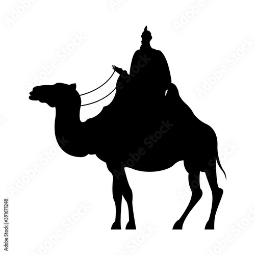 Canvas-taulu wise men in camel silhouette character