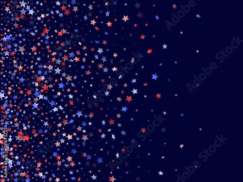 Valokuvatapetti Flying red blue white star sparkles vector american patriotic background