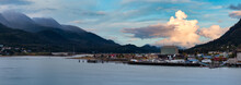 Beautiful Panoramic View Of A Small Town, Juneau, With Mountains In The Background. Colorful Sunrise Sky. Taken In Alaska, United States.