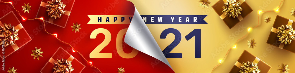 Fototapeta 2021 Happy New Year Promotion Poster or banner with open gift wrap paper and gift box in red and gold colors.Change or open to new year 2021 concept.Promotion and shopping template for New Year 2021