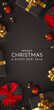 Christmas vertical backgrounds, xmas poster, web banner. Holiday templates cover for social networks, design for and stories. Realistic 3d decorative objects. Happy New year. vector illustration