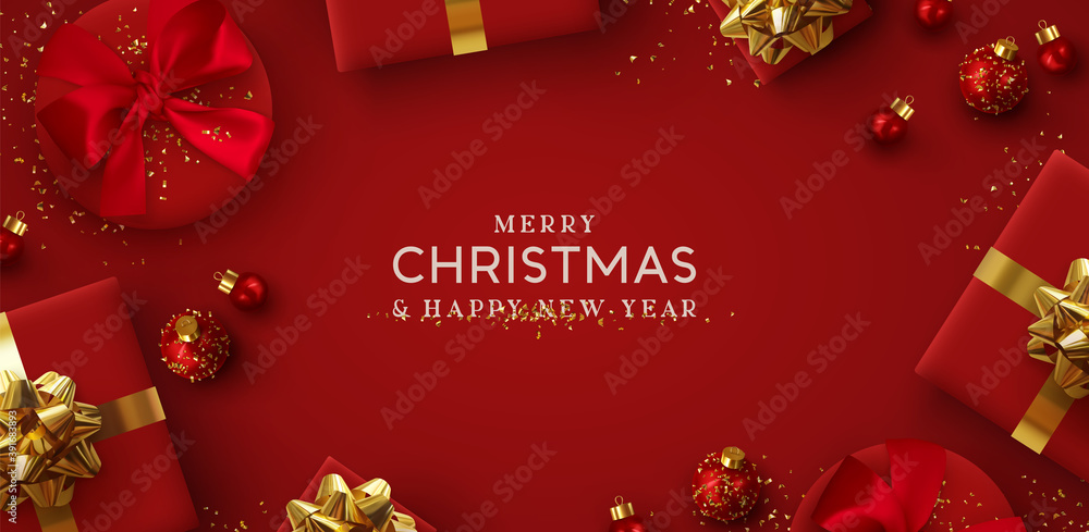 Fototapeta Merry Christmas and Happy New Year. Background Xmas design of realistic gifts box, 3d bauble balls, glitter gold confetti. Christmas poster, greeting cards. Flat lay, top view. Holiday composition