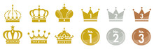 Gold Crown Icons Set Vector