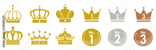 Photo Gold Crown Icons Set Vector