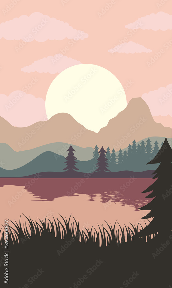 Fototapeta beautiful landscape sunset scene with lake and forest