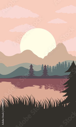 beautiful landscape sunset scene with lake and forest © Gstudio