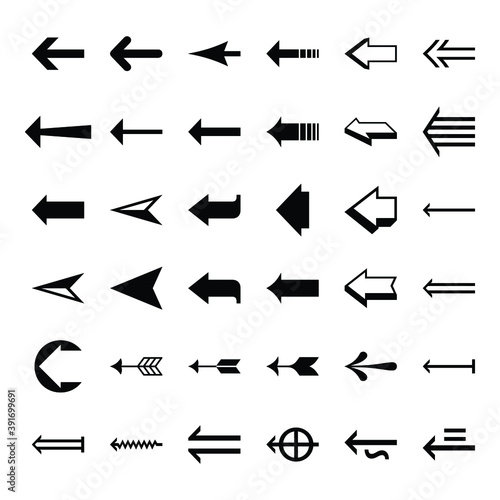 Set arrow icon. Collection different arrows sign. Set of flat icons, signs, symbols arrow for interface design, web design, apps and more. Arrows big black set icons. Arrow icon. Arrow vector Wall mural