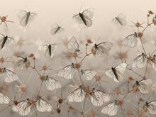 Drawn Butterflies On Thorns. W...