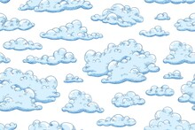 Seamless Pattern With Blue Fluffy Clouds. Hand Drawn Endless Background With Curly Cumulus For Wrapping Or Textile. Background With Sky View. Vector Illustration Of Cloudscape