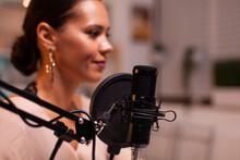 Vlogger Woman Recording Video ...