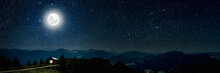 Mountain. Backgrounds Night Sky With Stars And Moon And Clouds.